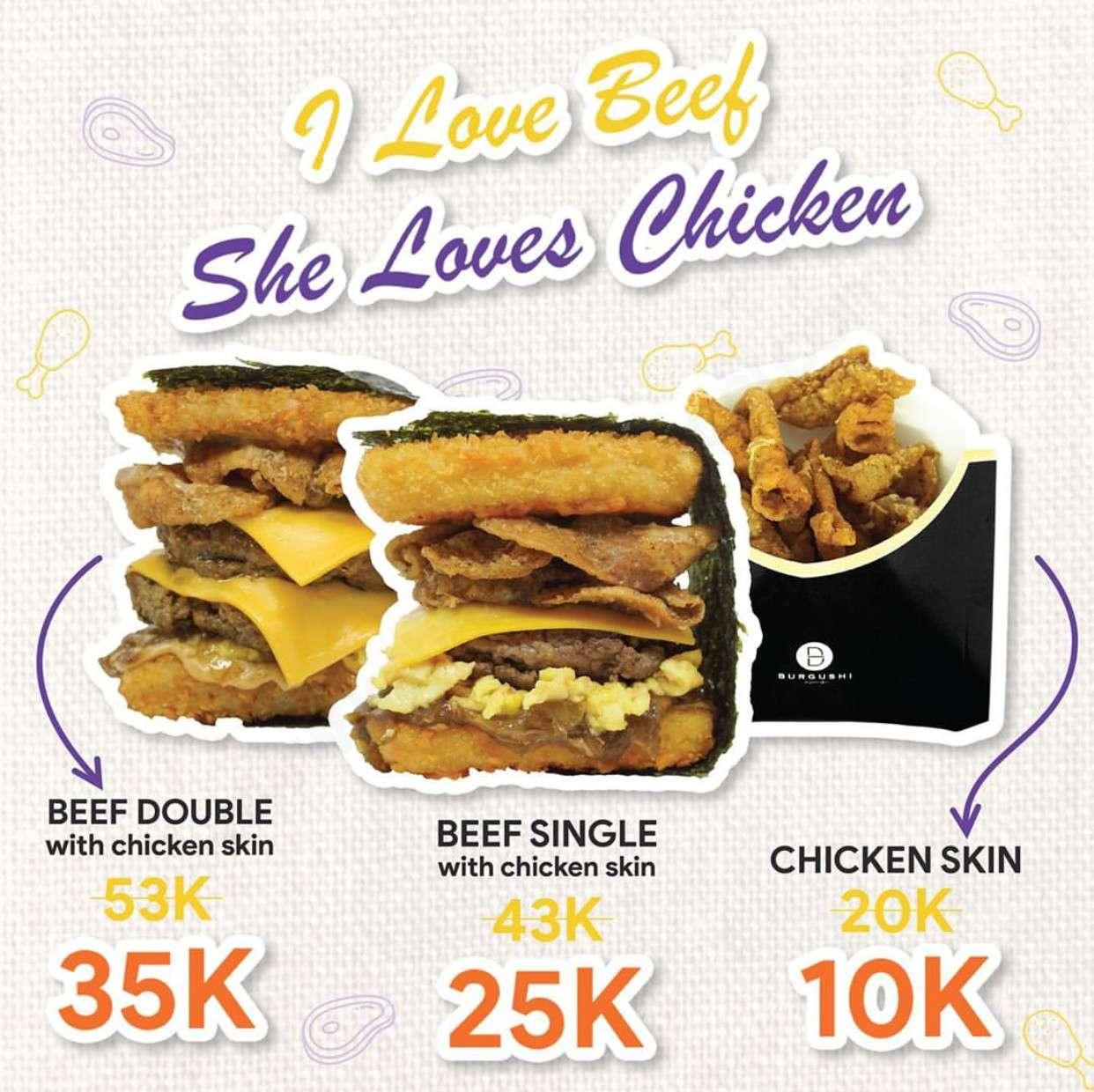 Burgushi Promo Beef Single X Chicken Skin mulai Rp. 10.000
