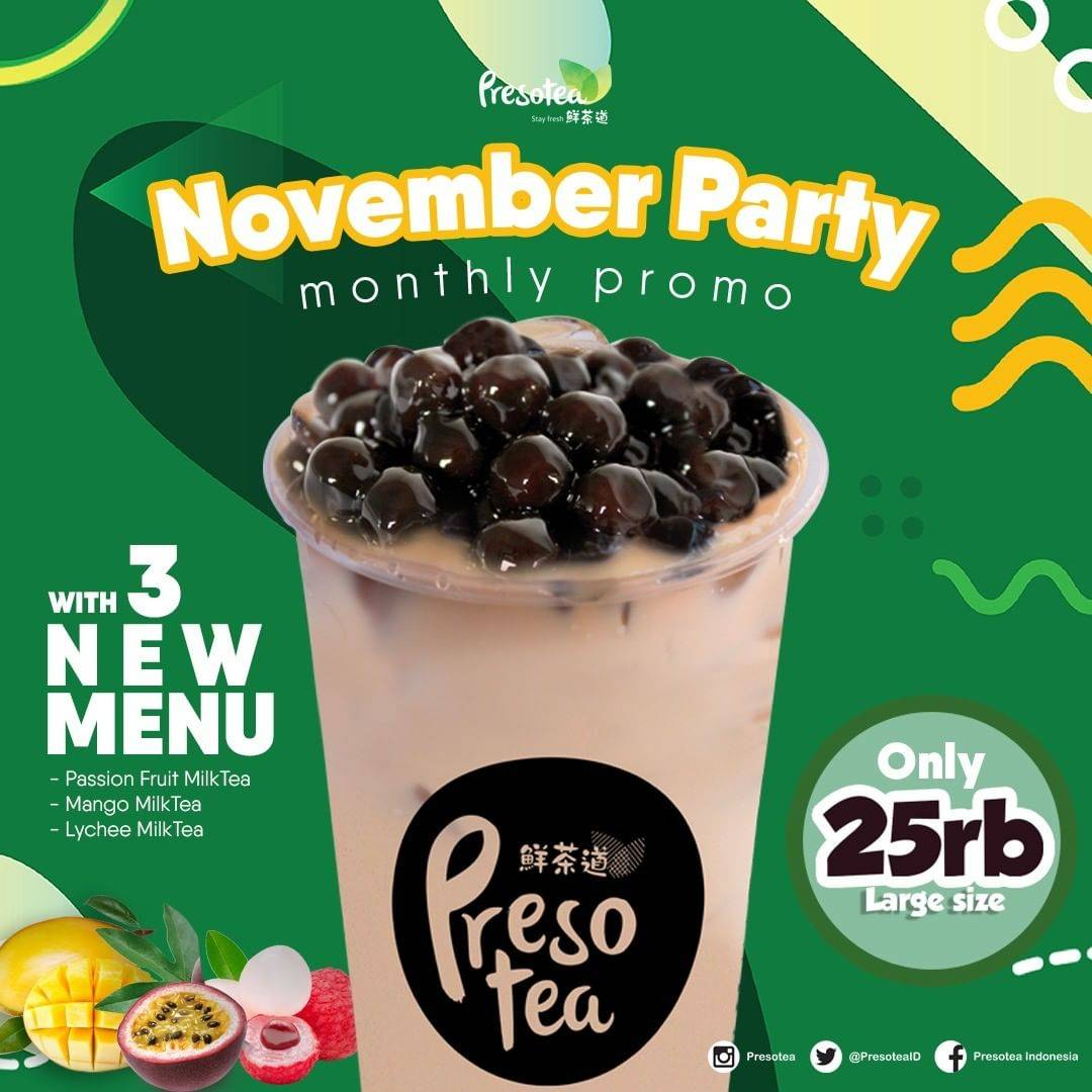 Diskon Presotea Promo November Party New Menu Only Rp 25.000