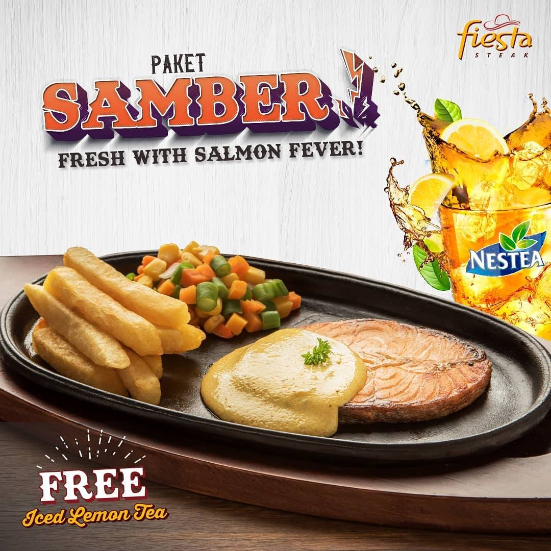 Diskon Fiesta Steak Promo Paket Samber Salmon Steak Khas Norwegia + 1 Lemon Tea hanya Rp. 86.363