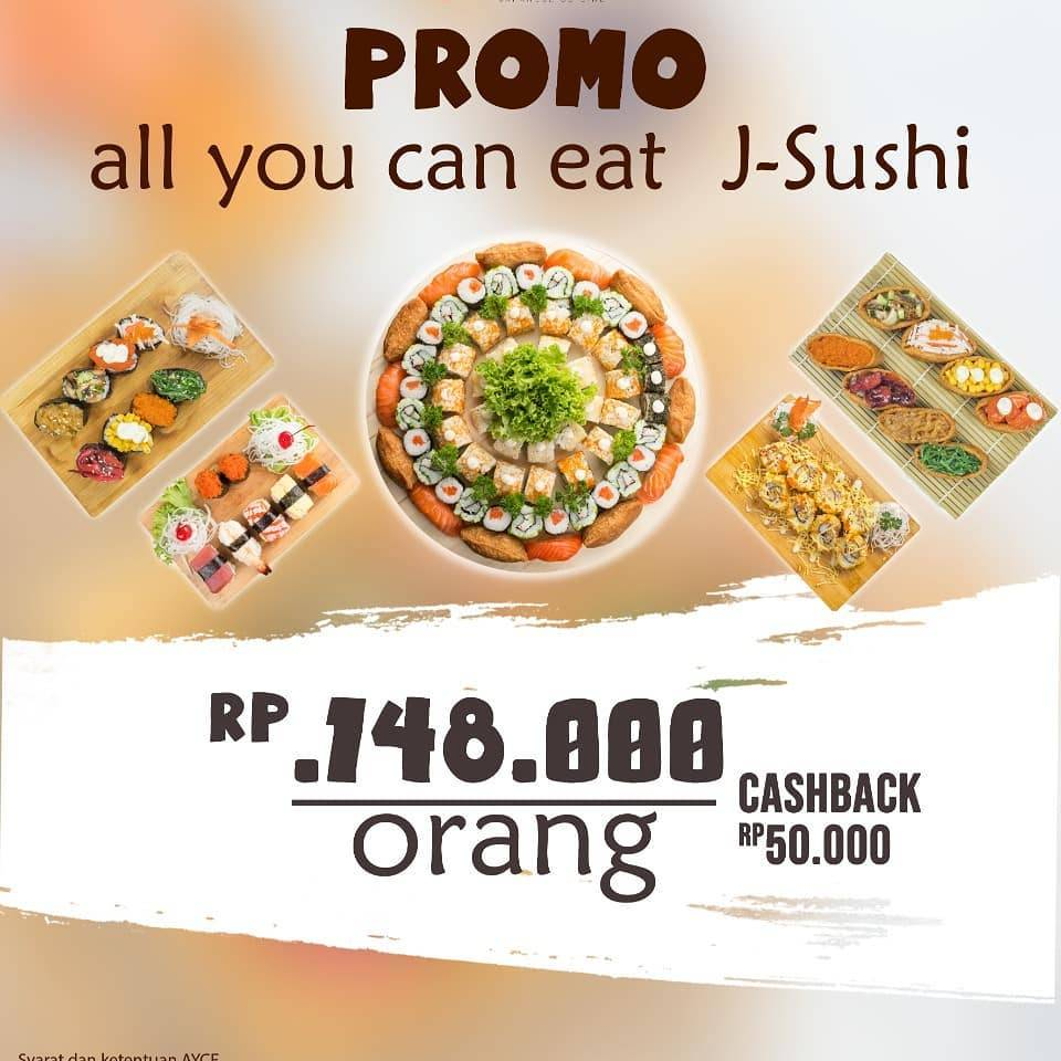 J Sushi Promo All You Can Eat Rp 148.000 per Orang & Cashback Rp 50.000