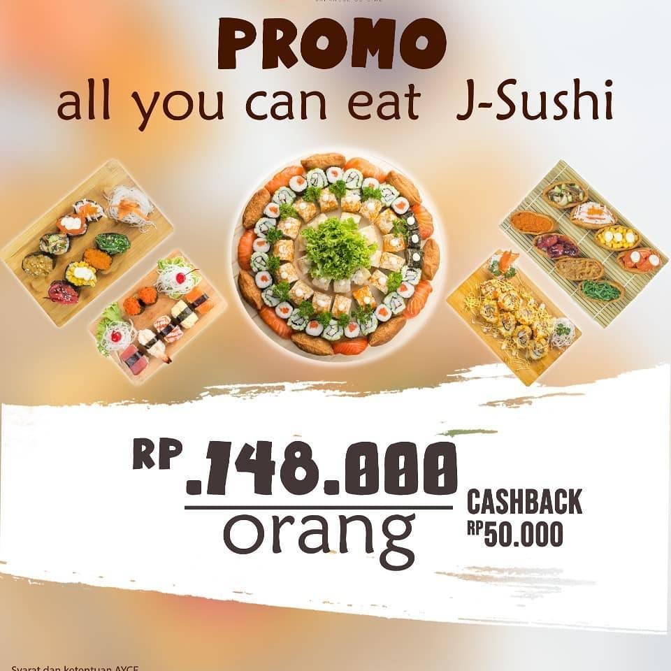Diskon J Sushi Promo All You Can Eat Rp 148.000 per Orang & Cashback Rp 50.000