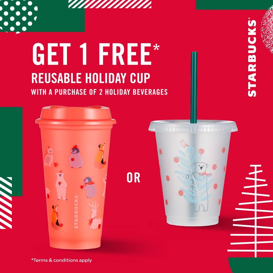 Starbucks Promo Beli 2 Minuman Holiday Special Gratis 1 Limited Edition Holiday Reusable Cup