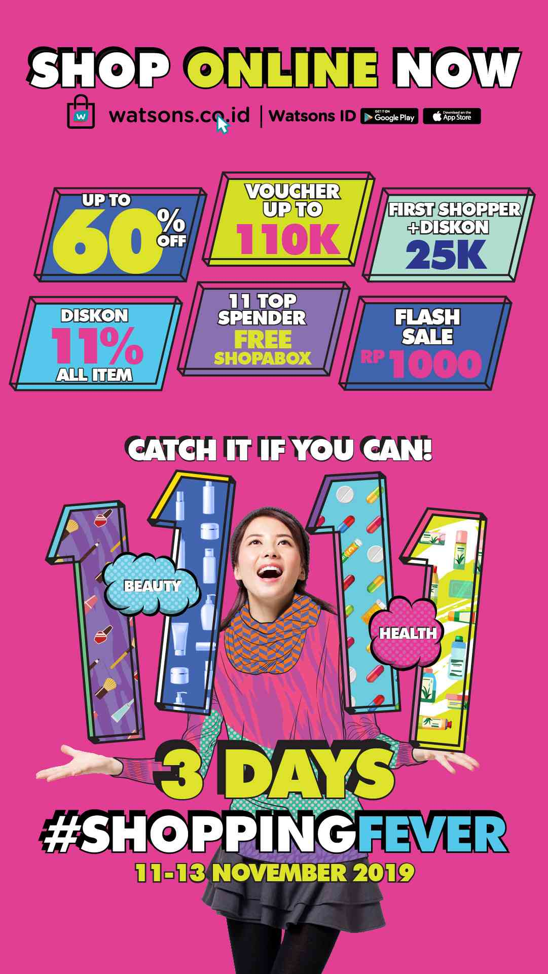 Watsons Shopping Fever 11.11 Discount up to 60% off