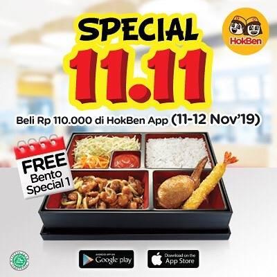 Hokben Promo Harbolnas 11.11 FREE Bento Special 1 di setiap pembelian min Rp 110.000