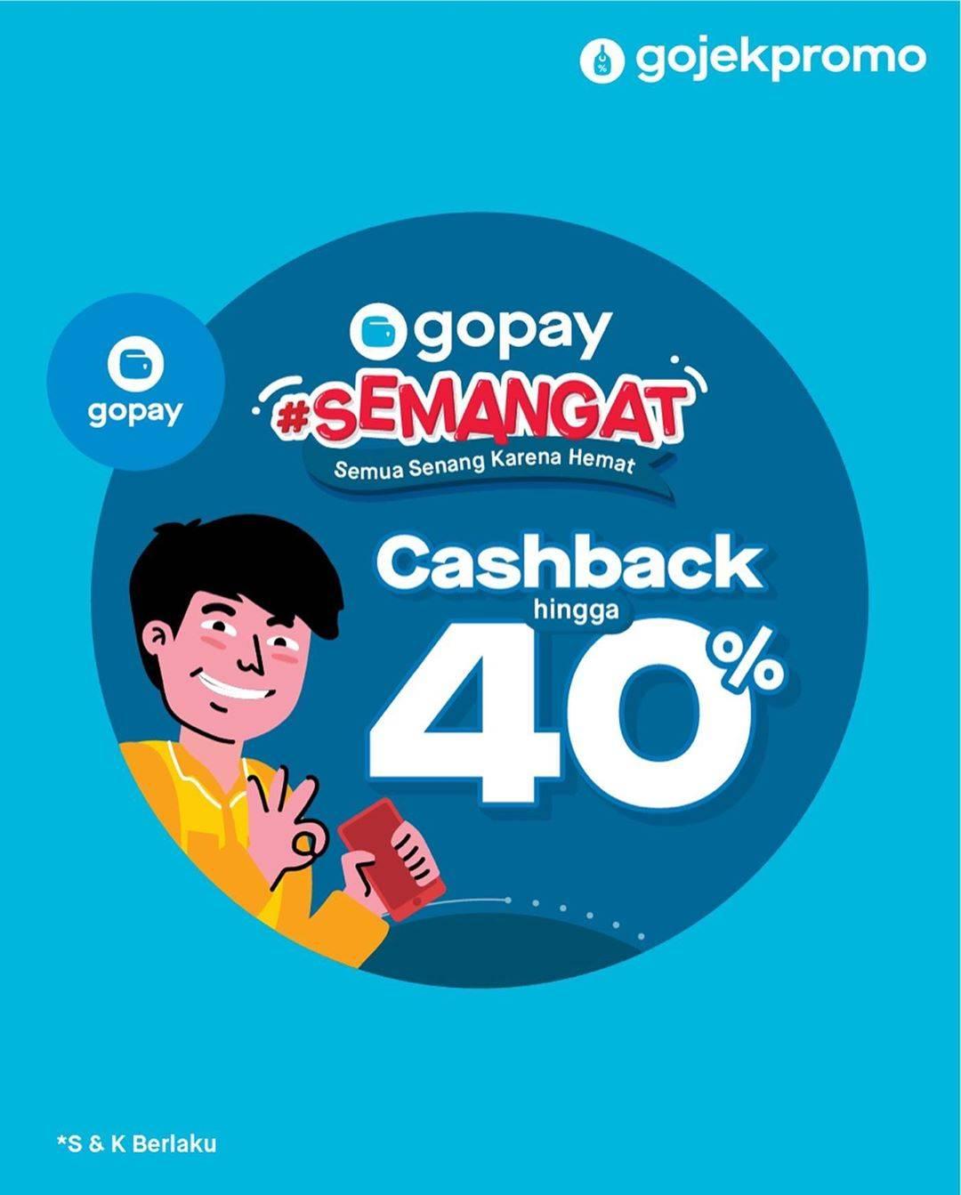 Gopay Cashback Hingga 40% - Promo Semangat Hari Ini November 2019