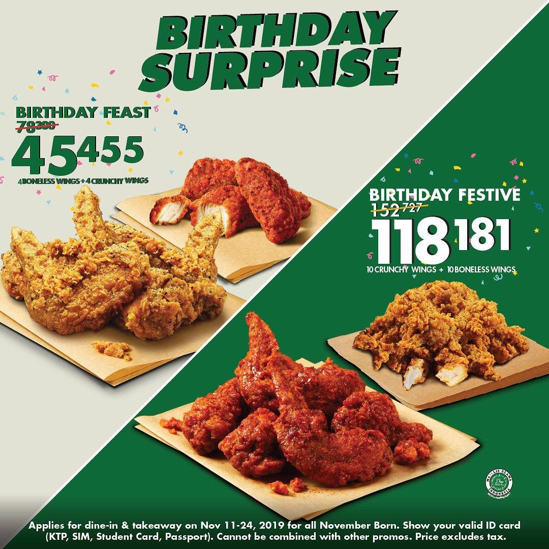 Wingstop Promo Birthday Surprise November buat yang Ultah November