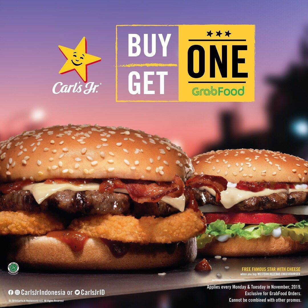 Diskon Carls Jr Promo Beli 1 Gratis 1 via Grab