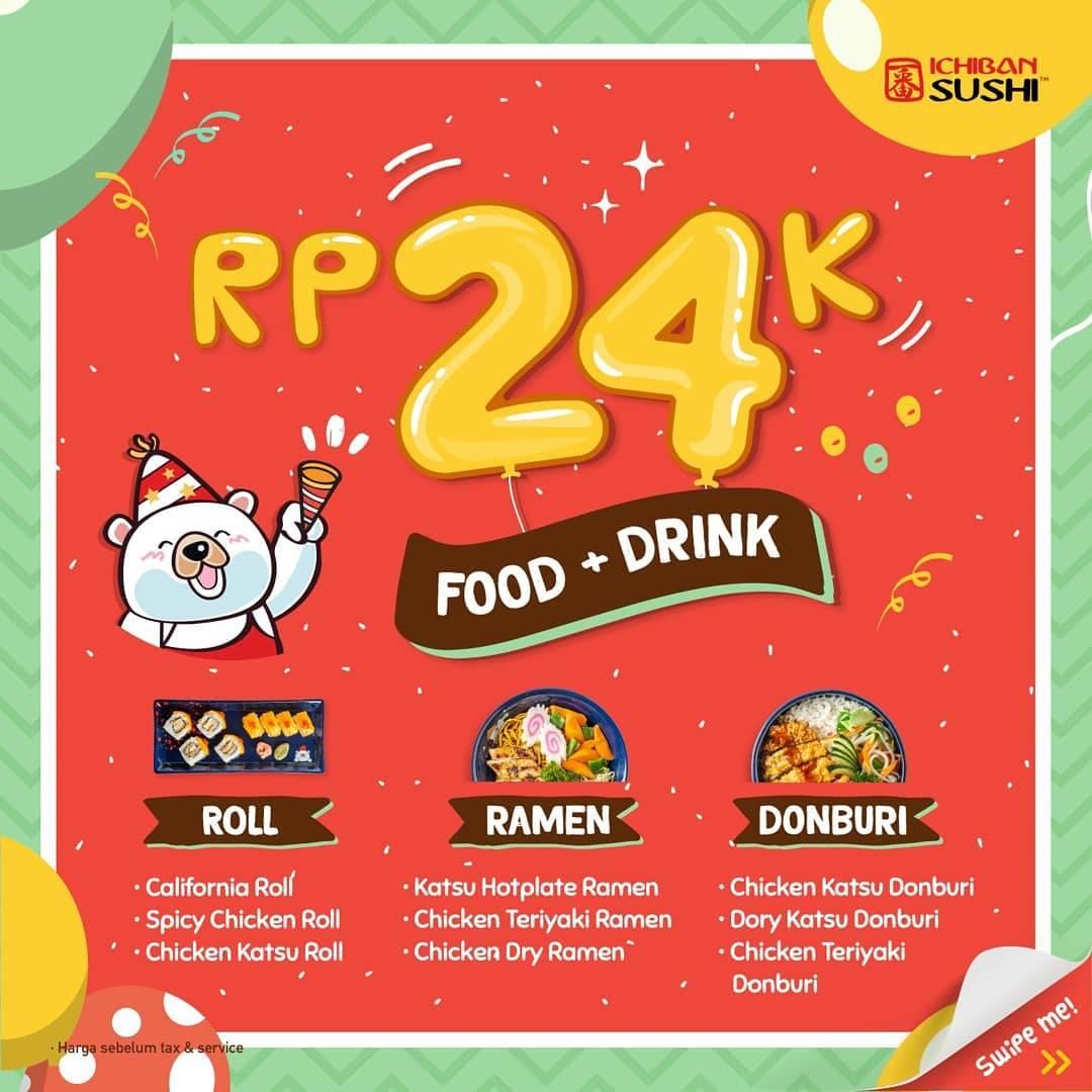 Ichiban Sushi Promo Spesial Ulang Tahun – Paket Makan + Minum hanya Rp. 24.000