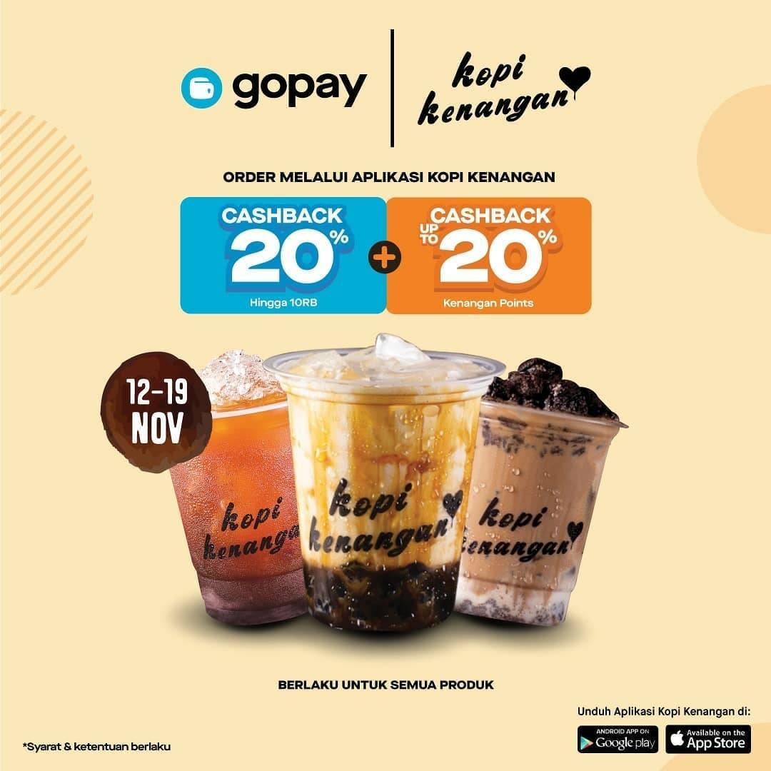 Kopi Kenangan Promo Cashback Gopay 20% dan Kenangan Points hingga 20% dengan Aplikasi