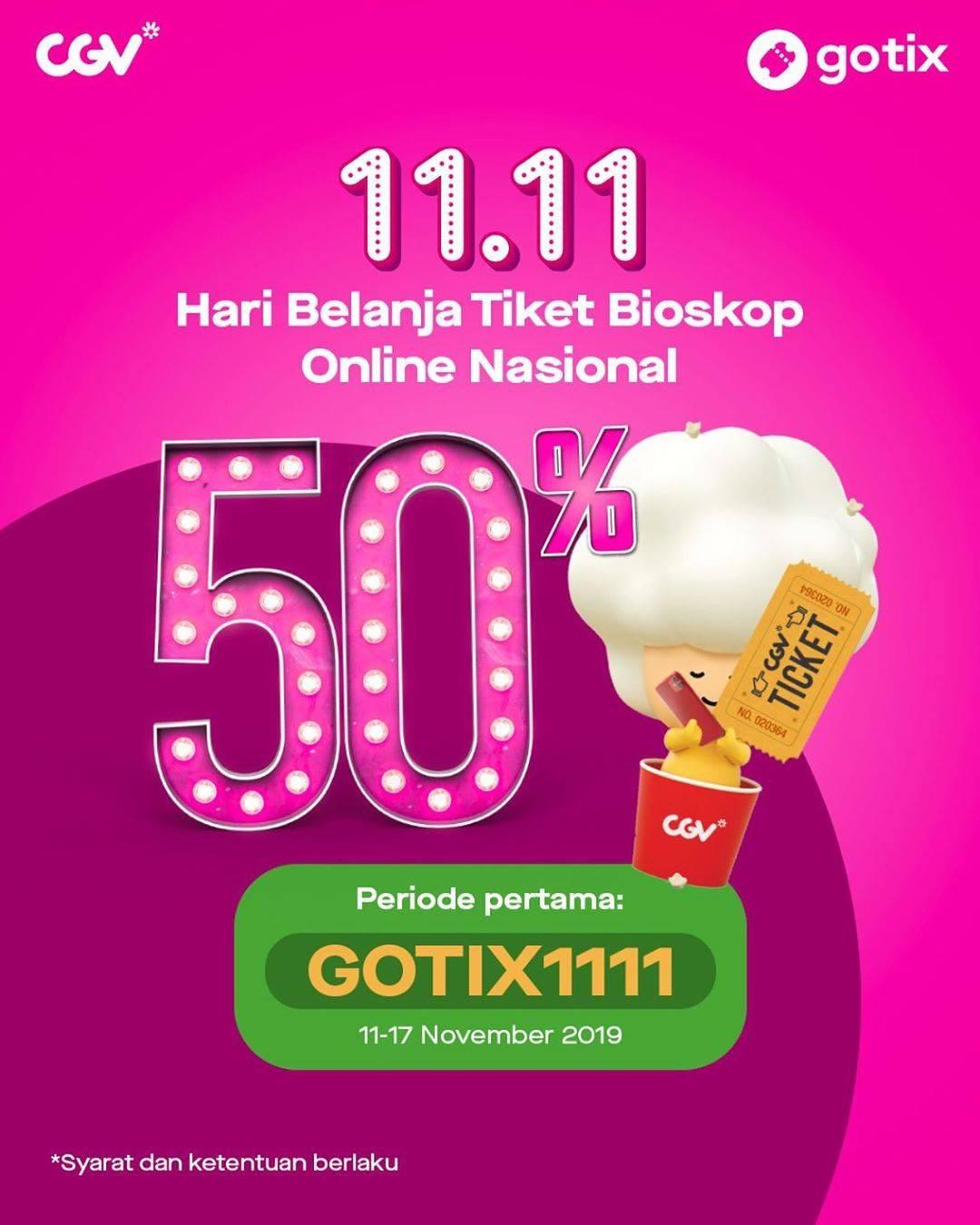 Diskon Gotix Promo Diskon 50% Tiket Nonton di CGV - Hari Belanja Tiket Bioskop Online Nasional