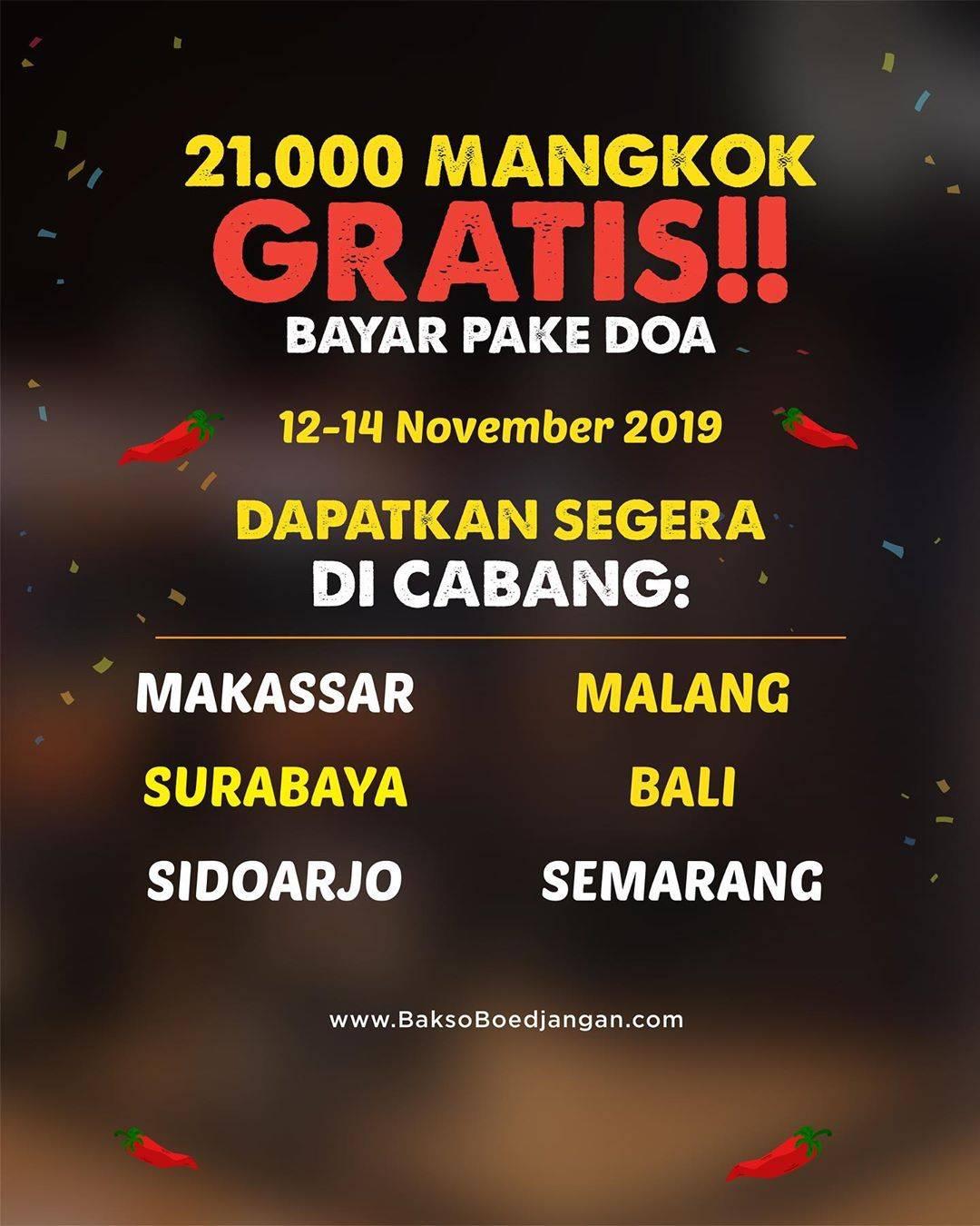 Promo diskon Bakso Boedjangan Promo Gratis 21.000 Mangkok Bakso ACI Boedjangan