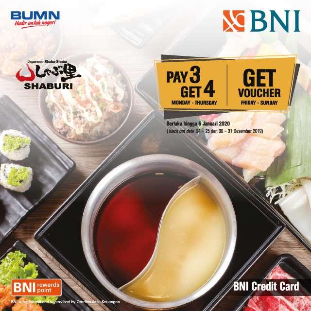 Shaburi Promo Pay 3 Get 4 dan Gratis Voucher Rp 100 ribu dengan Kartu Kredit BNI