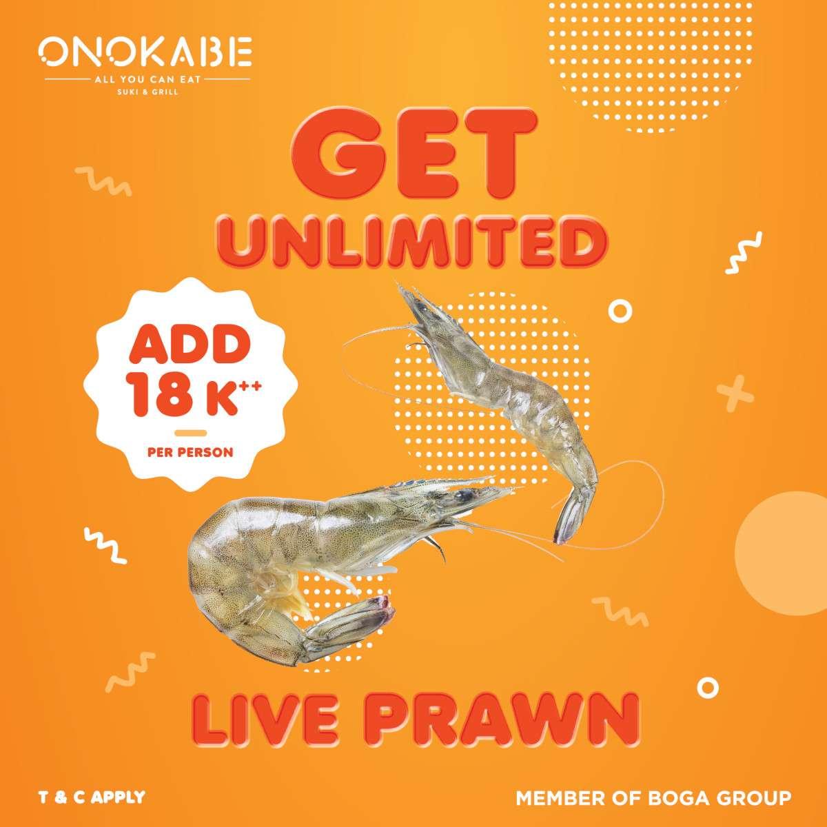 Onokabe Promo Menu Baru Live Prawn! Hanya Tambah Rp. 18.000++ per orang