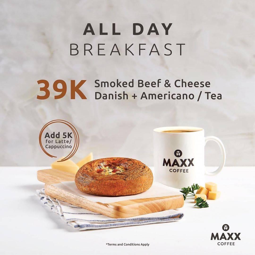 Promo diskon Maxx Coffee All Day Breakfast Package Harga mulai Rp. 35.000