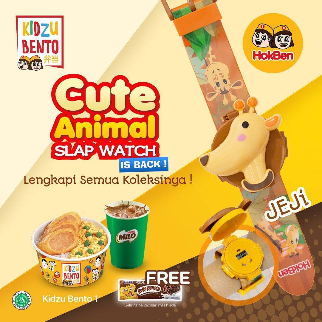 Hokben Promo Beli Kidzu Bento Gratis Animal Slap Watch