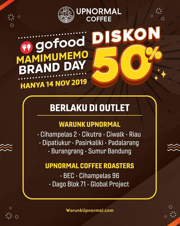 Warunk Upnormal GoFood Diskon 50% MaMiMuMeMo Brand Day untuk Menu Pilihan