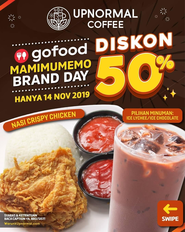 Promo diskon Warunk Upnormal GoFood Diskon 50% MaMiMuMeMo Brand Day untuk Menu Pilihan