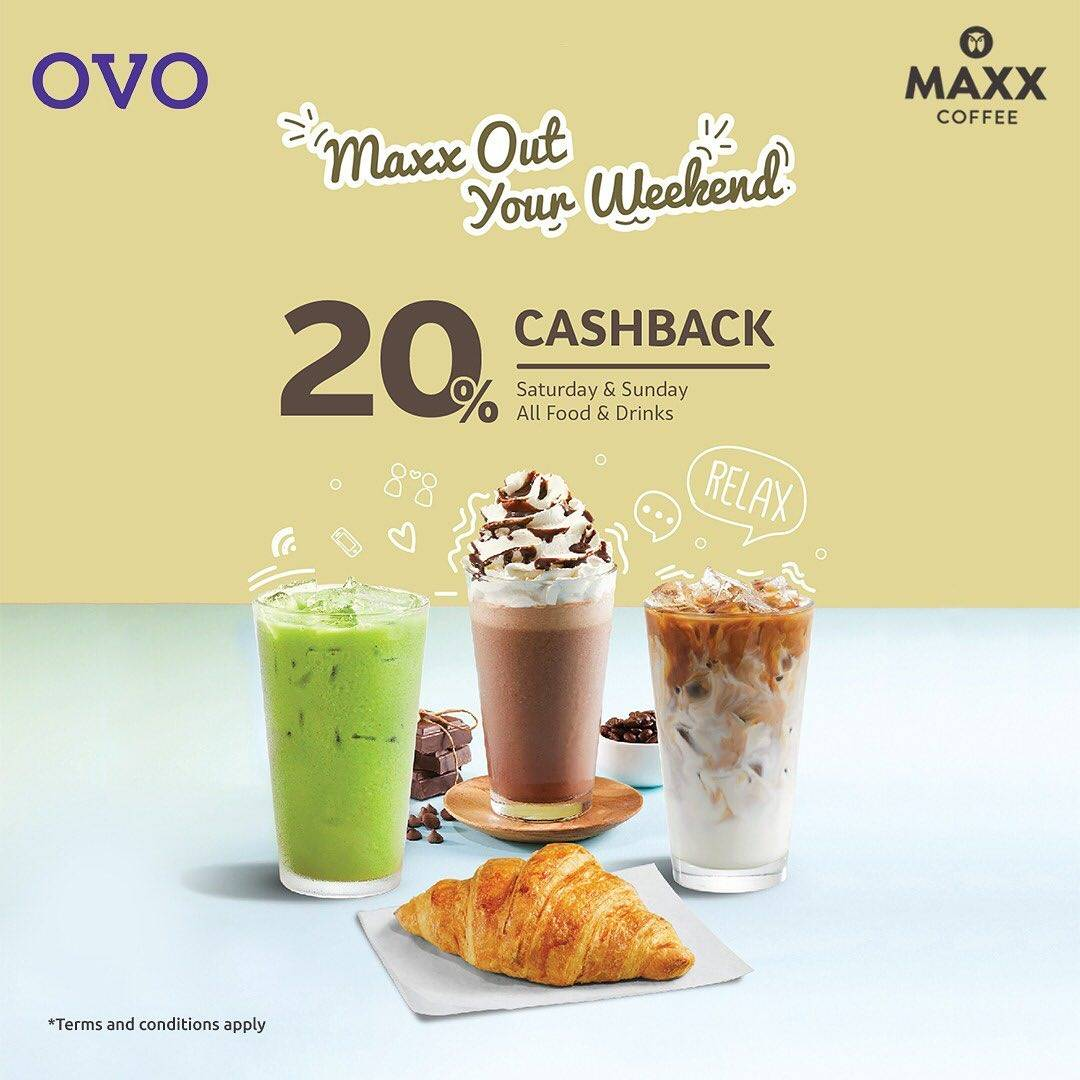 Maxx Coffee Promo Cashback 20% Maxx Out Your Weekend dengan OVO