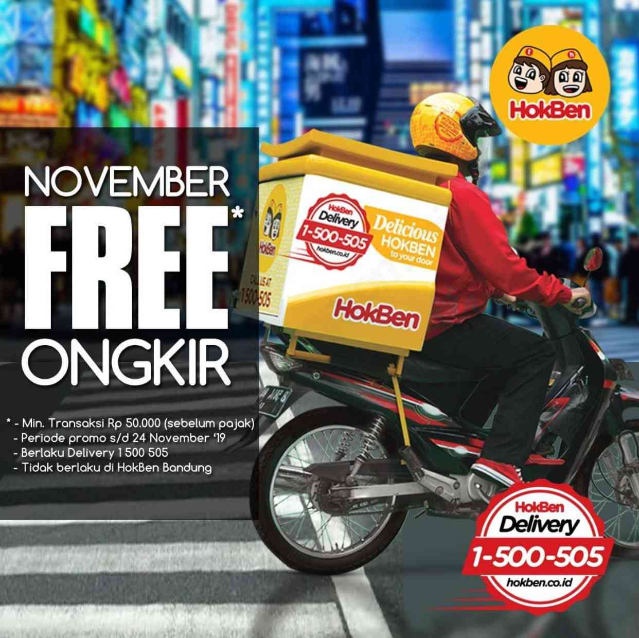 Hokben Promo Gratis Ongkir untuk setiap pembelian via Delivery Service