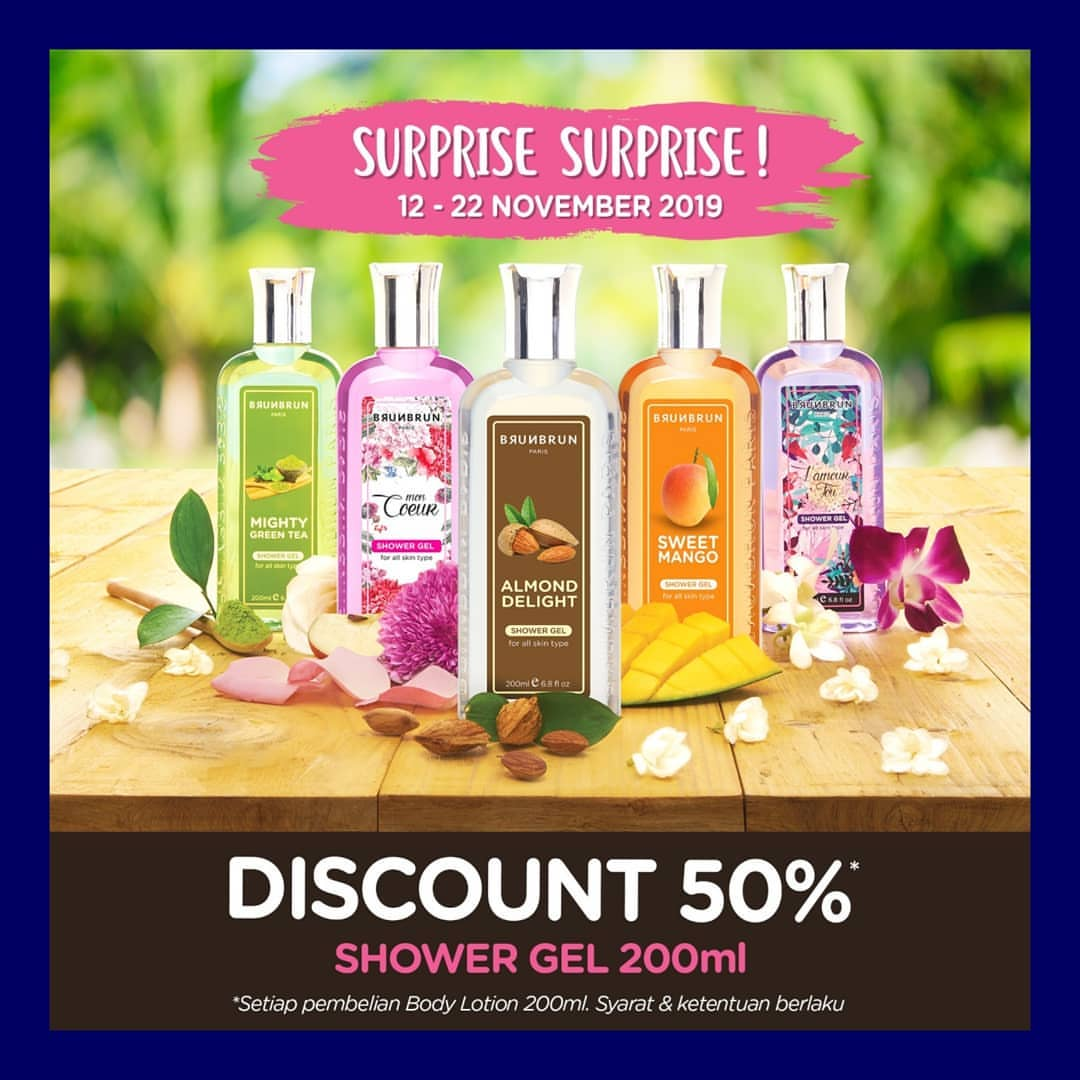 Brun Brun Promo Surprise Diskon 50% Shower Gel 200ml