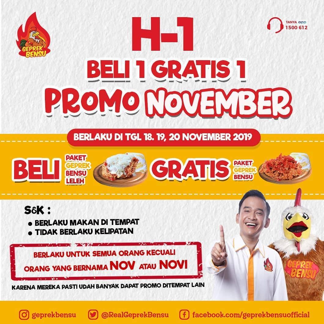 Geprek Bensu Promo Spesial November Ceria, Beli 1 Gratis 1