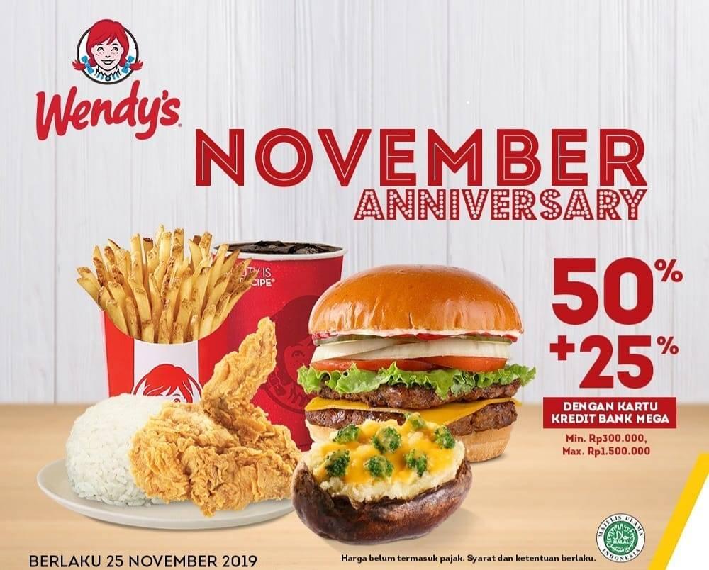 Wendys Promo November Anniversary Diskon 50%+25% dengan Kartu Kredit Bank Mega