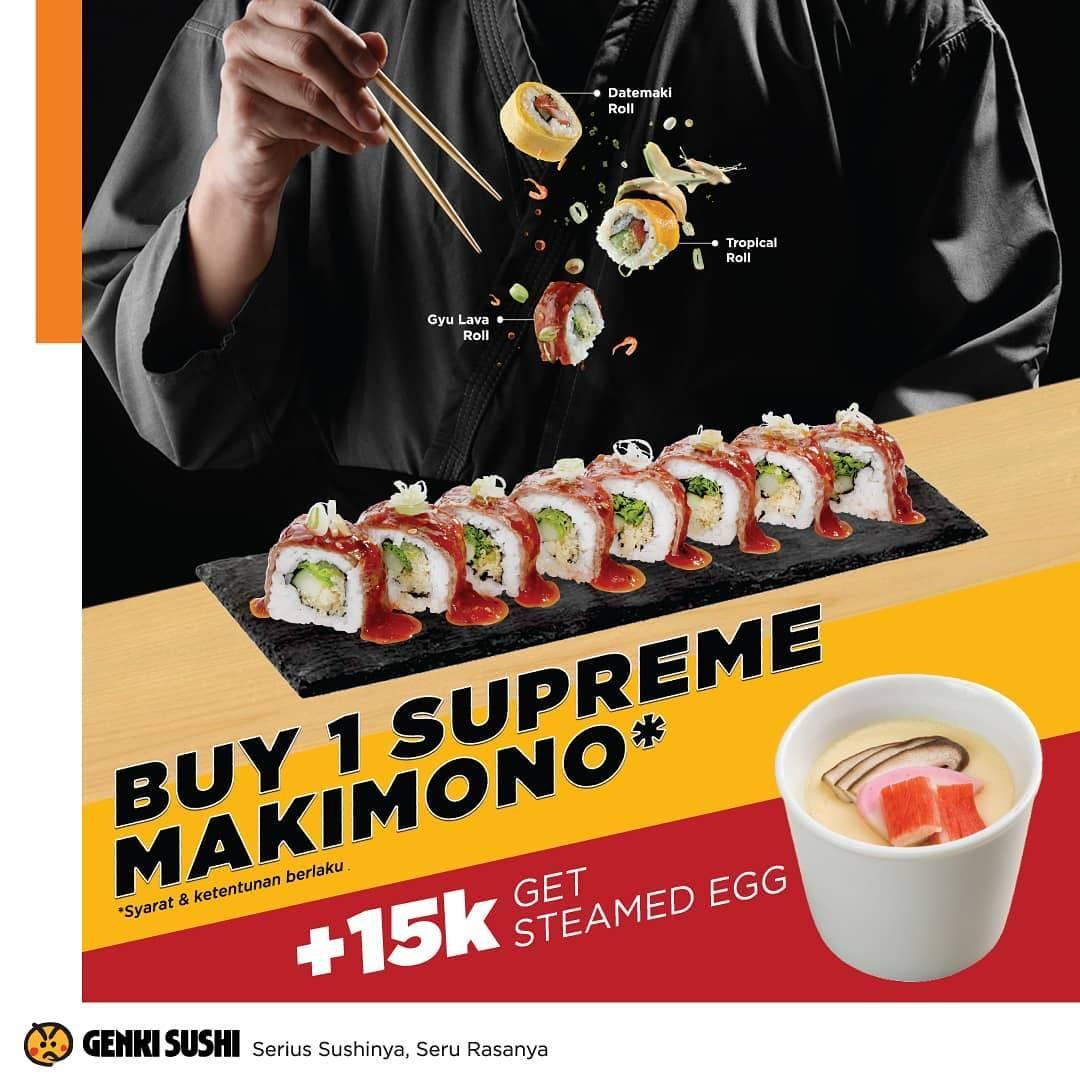 Genki Sushi Promo Promo Steamed Egg HANYA Rp. 15 ribu
