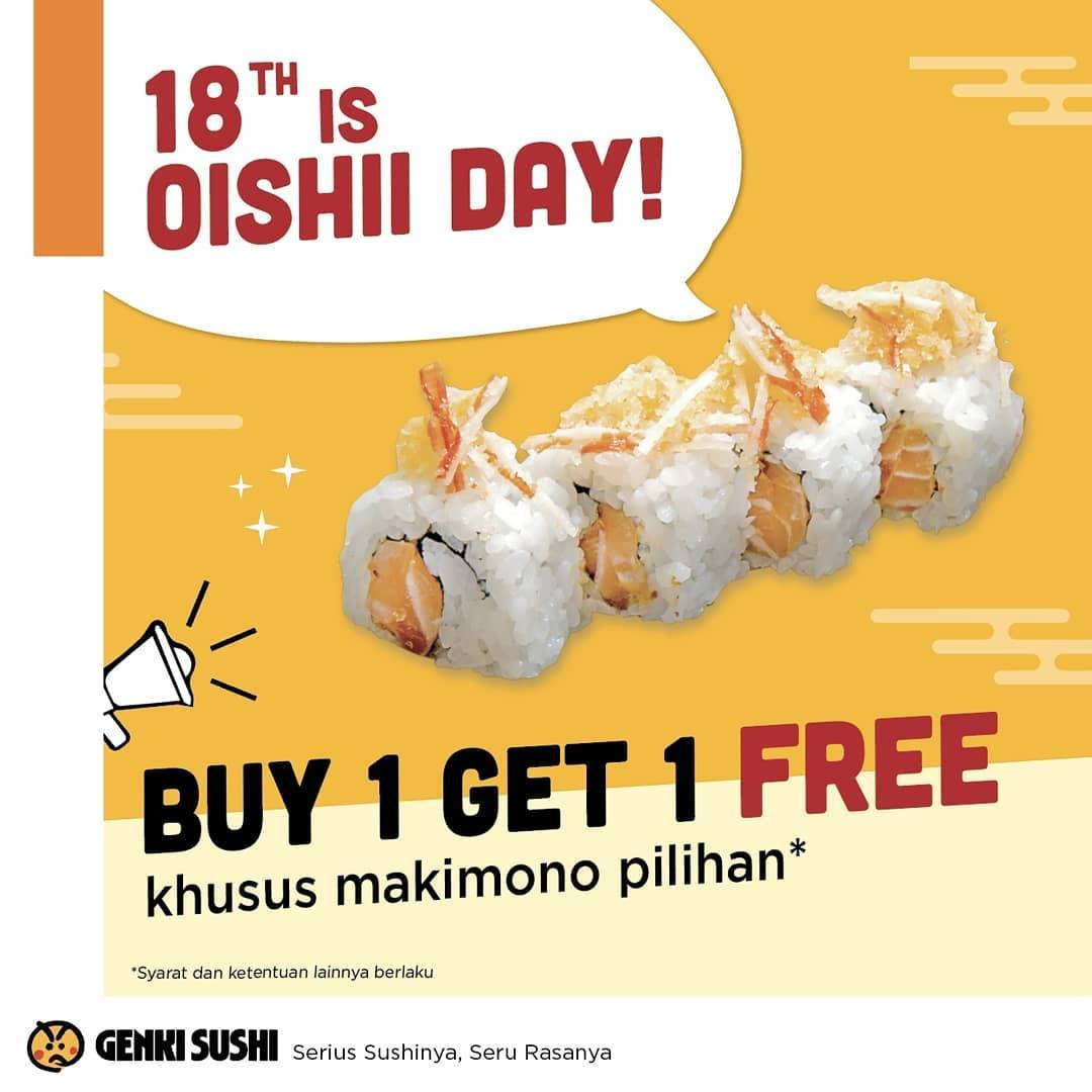 Genki Sushi Promo Buy 1 Get 1 Free untuk Makimono pilihan