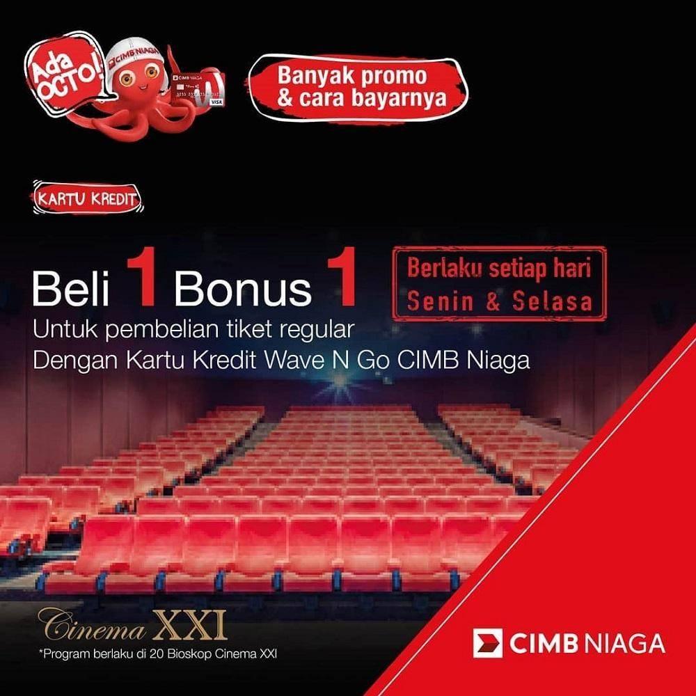 XXI Promo Buy 1 Get 1 Tiket dengan Kartu Kredit CIMB Niaga Wave n Go