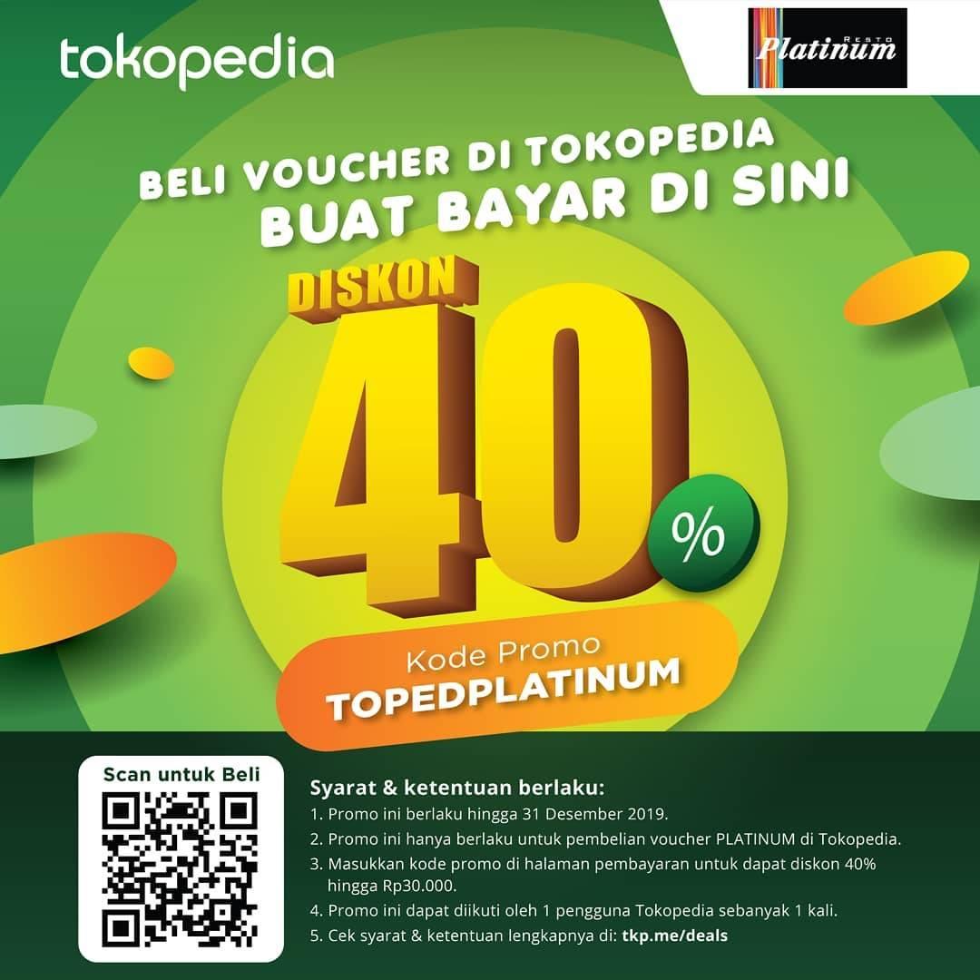 Platinum Promo Beli Voucher di Tokopedia Deals Diskon Langsung 40%