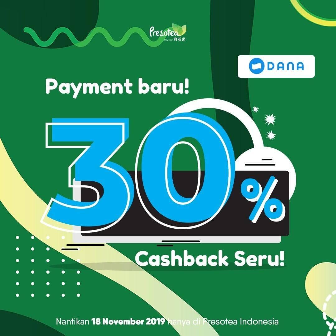 Presotea Promo Cashback 30% dengan Dana