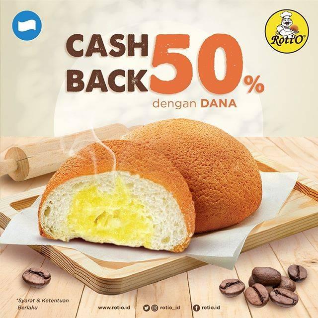 Roti'O Promo Cashback 50% dengan Dana