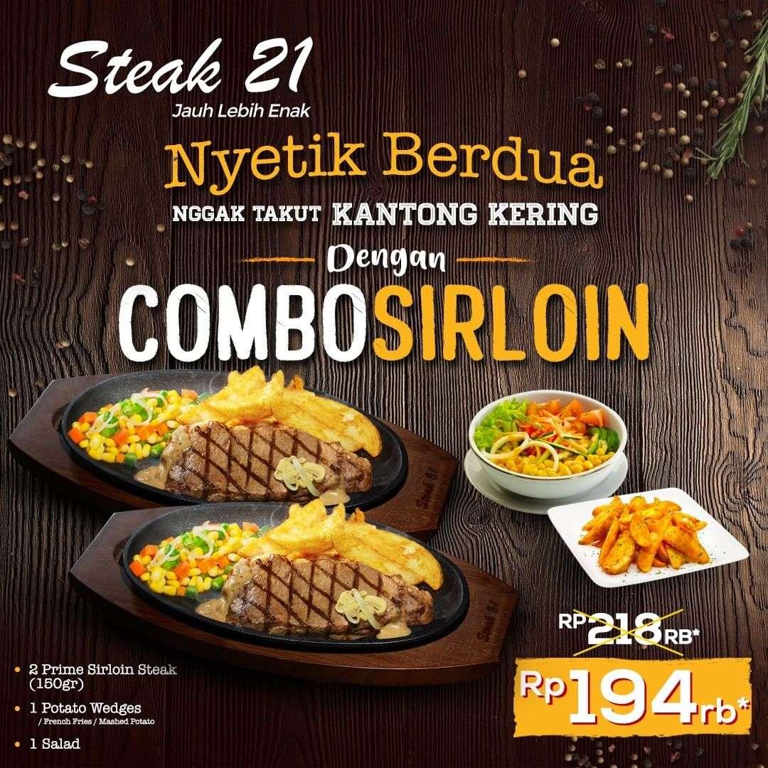 Steak 21 Promo Combo Sirloin Steak Berdua Hanya Rp 194.000*