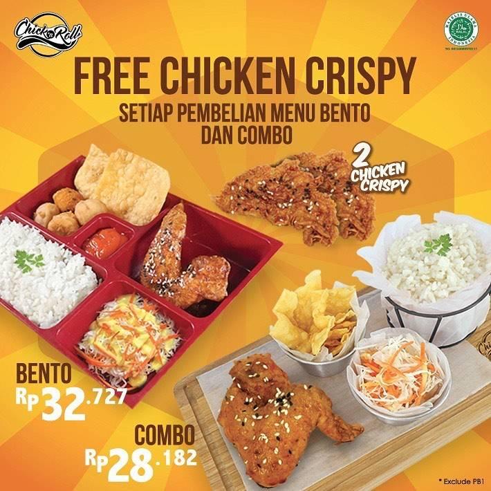 Chick n Roll Free Chicken Crispy Setiap Pembelian Menu Bento Dan Combo