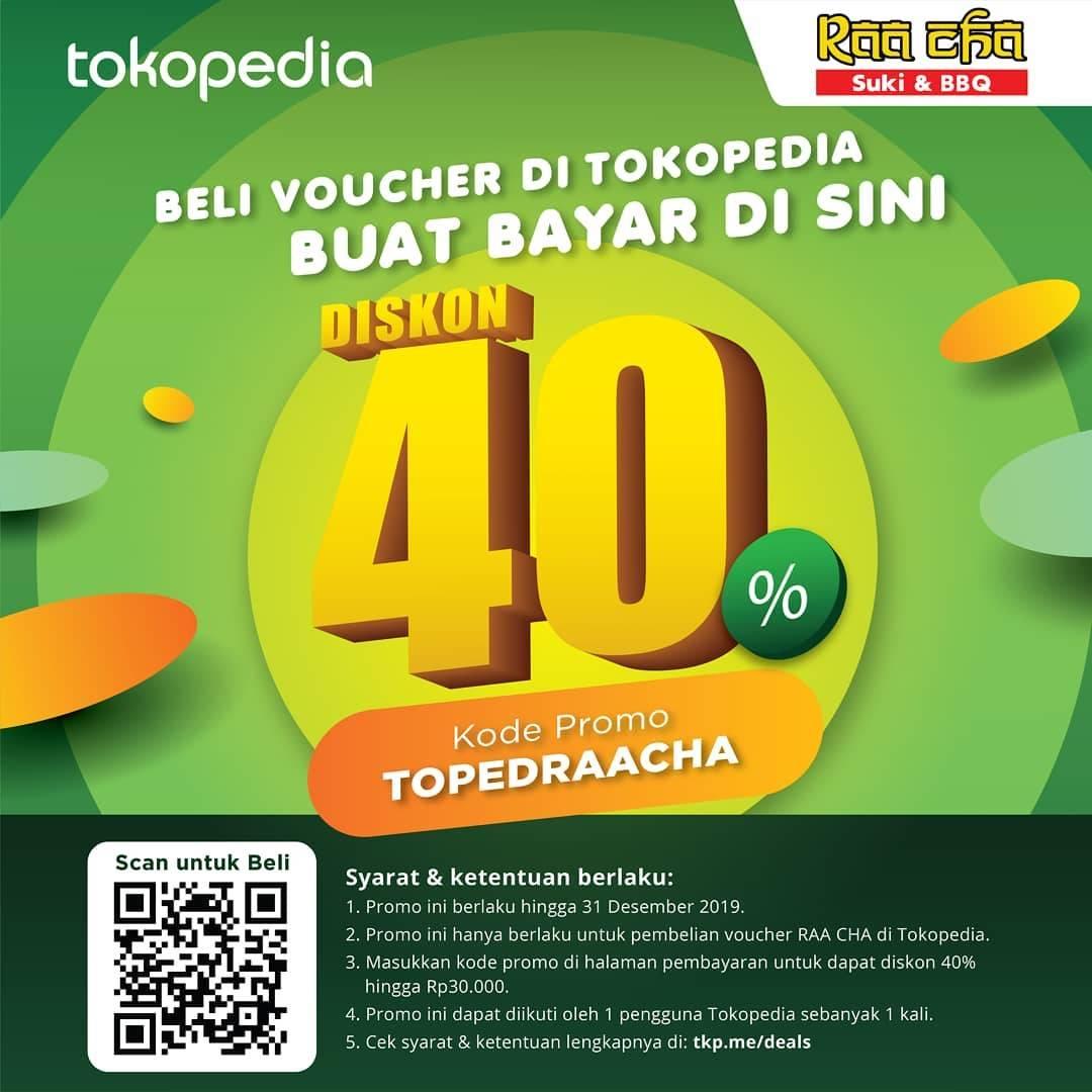 Raa Cha Promo Diskon 40% Beli Voucher di Tokopedia