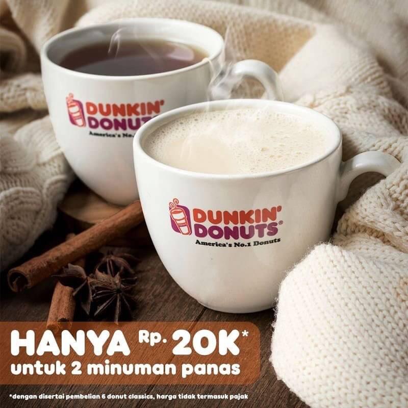 Dunkin Donuts Promo 2 Minuman Panas Hanya Rp 20.000,- Setiap Beli 6 Donut
