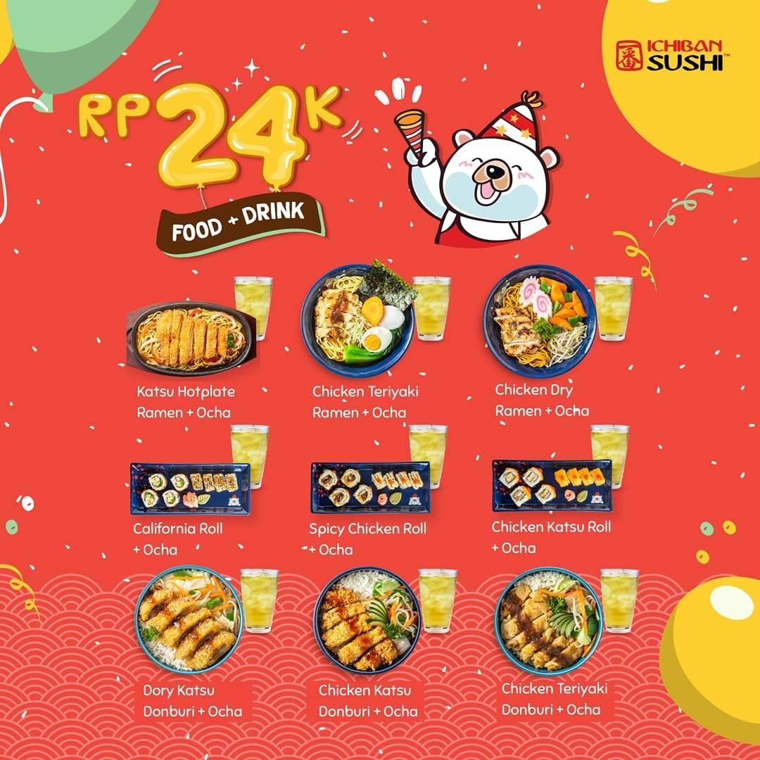 Ichiban Sushi Promo Spesial Ulang Tahun Paket Makan + Minum hanya Rp. 24.000 saja