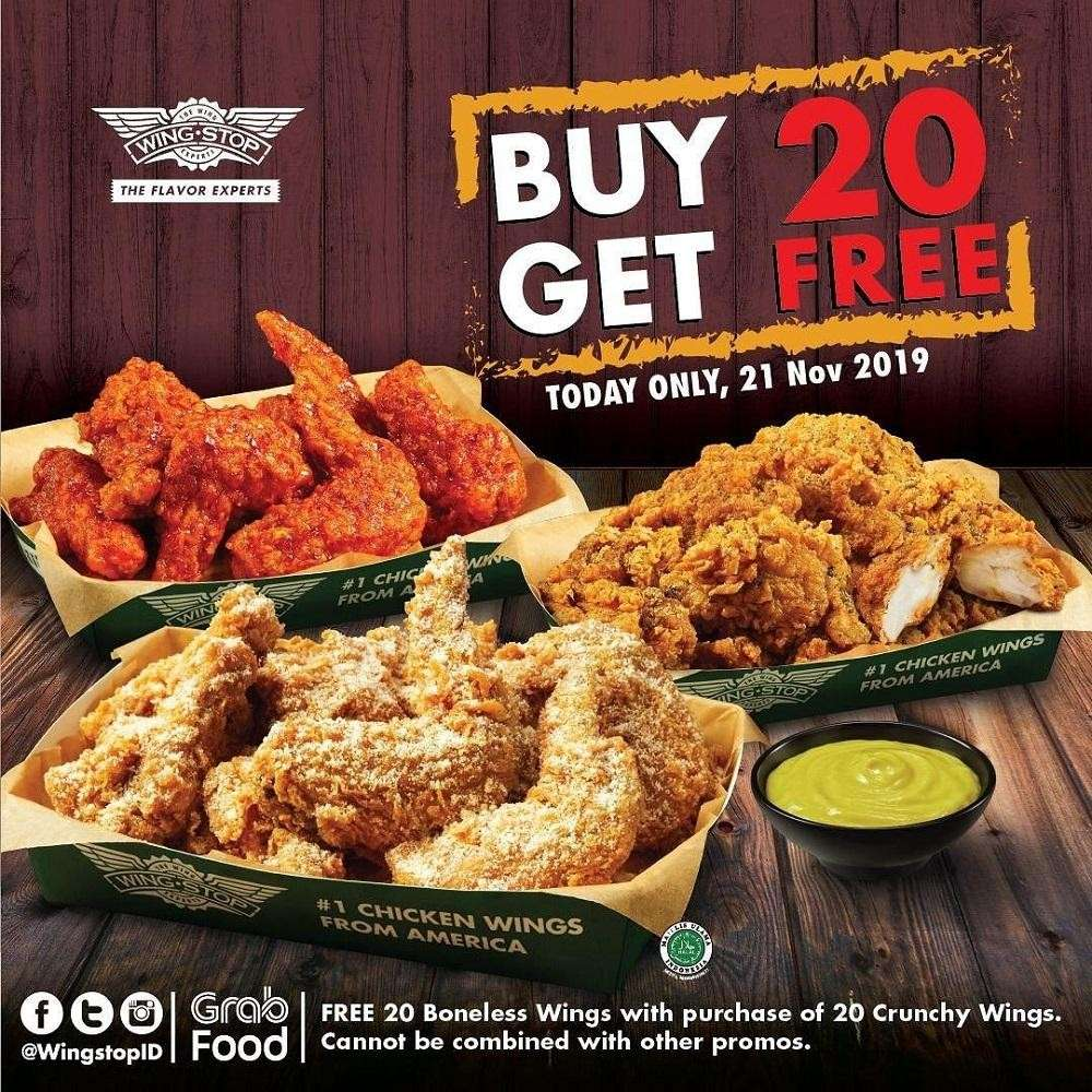 Wingstop Promo Buy 20 Get Free 20 Boneless Wings