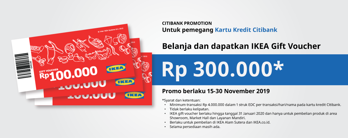 Diskon IKEA Promo Gratis Gift Voucher Rp300.000 dengan Kartu Kredit Citibank