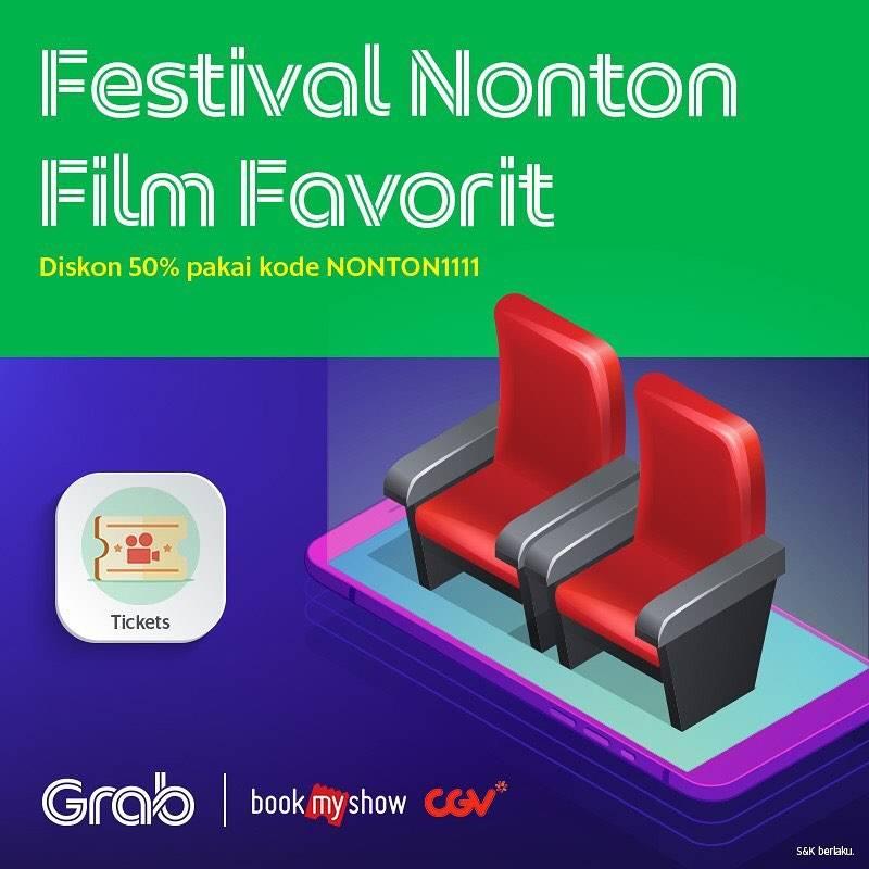 Grab BookMyShow 11.11 Promo Diskon 50% Nonton di CGV