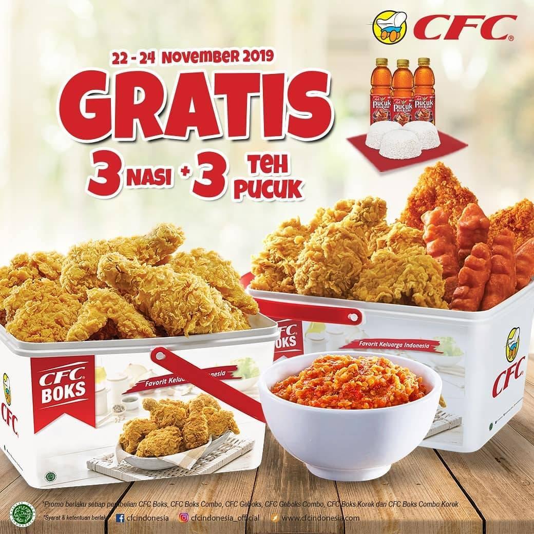 CFC Promo Gratis 3 Nasi + 3 Teh Pucuk Pembelian Paket CFC Boks