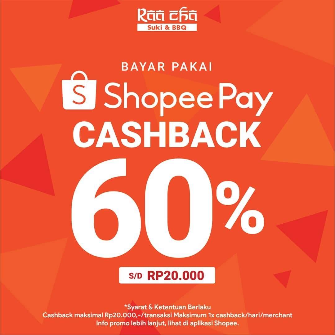 Raa Cha Suki & BBQ Promo Cashback 60% dengan ShopeePay