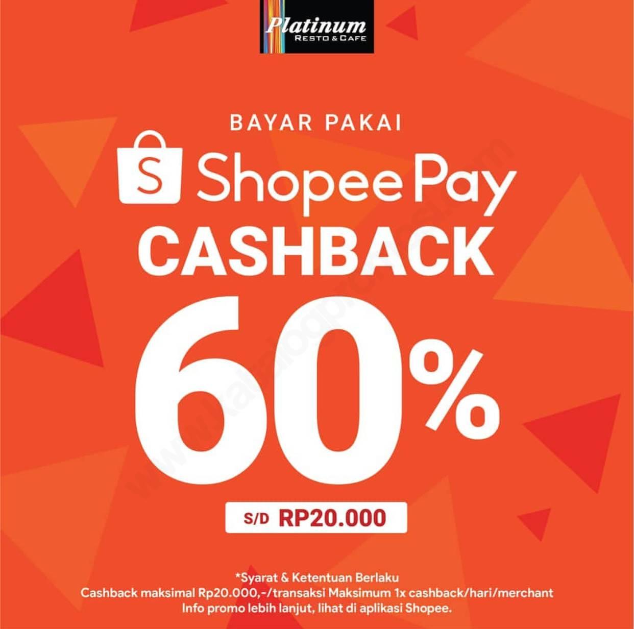 Platinum Resto Cashback 60% dengan ShopeePay