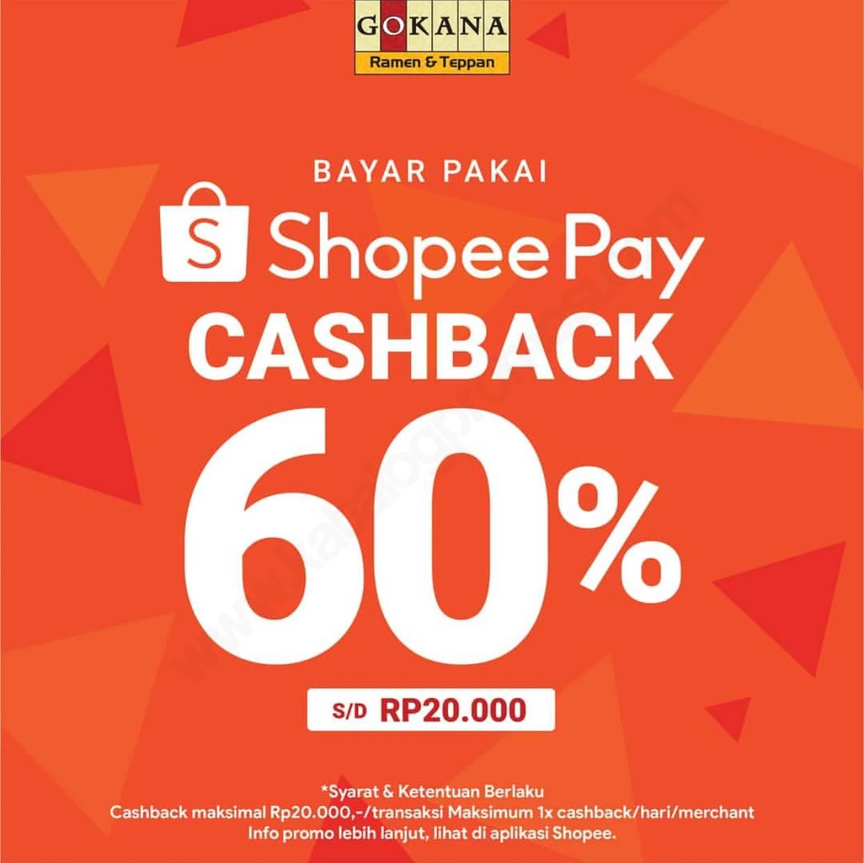 Gokana Cashback 60% dengan ShopeePay