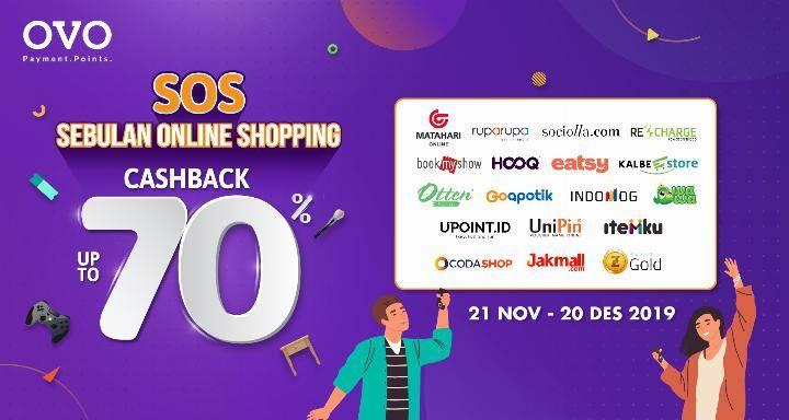OVO SOS! Sebulan Online Shopping Cashback sampai 50% di berbagai merchant online favorit