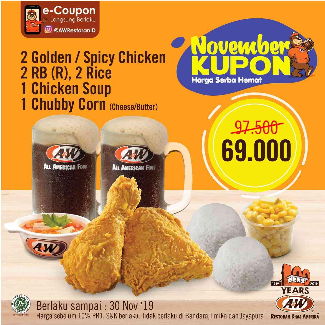 Promo diskon A&W Promo Kupon November Hemat