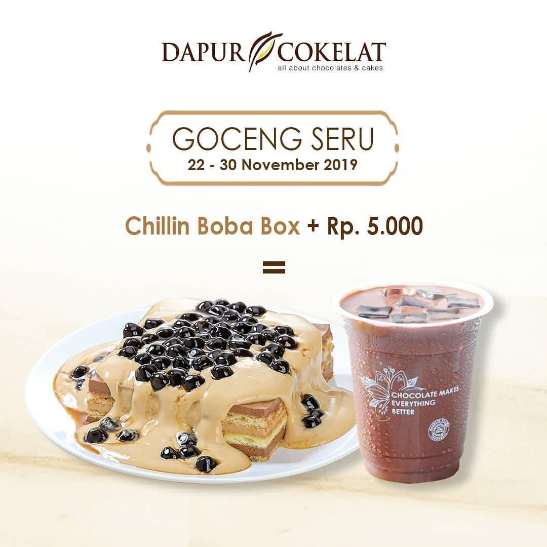 Dapur Cokelat Promo Goceng Seru Beli Chillin Boba Box tambah Rp. 5.000 dapat Iced Chocolate