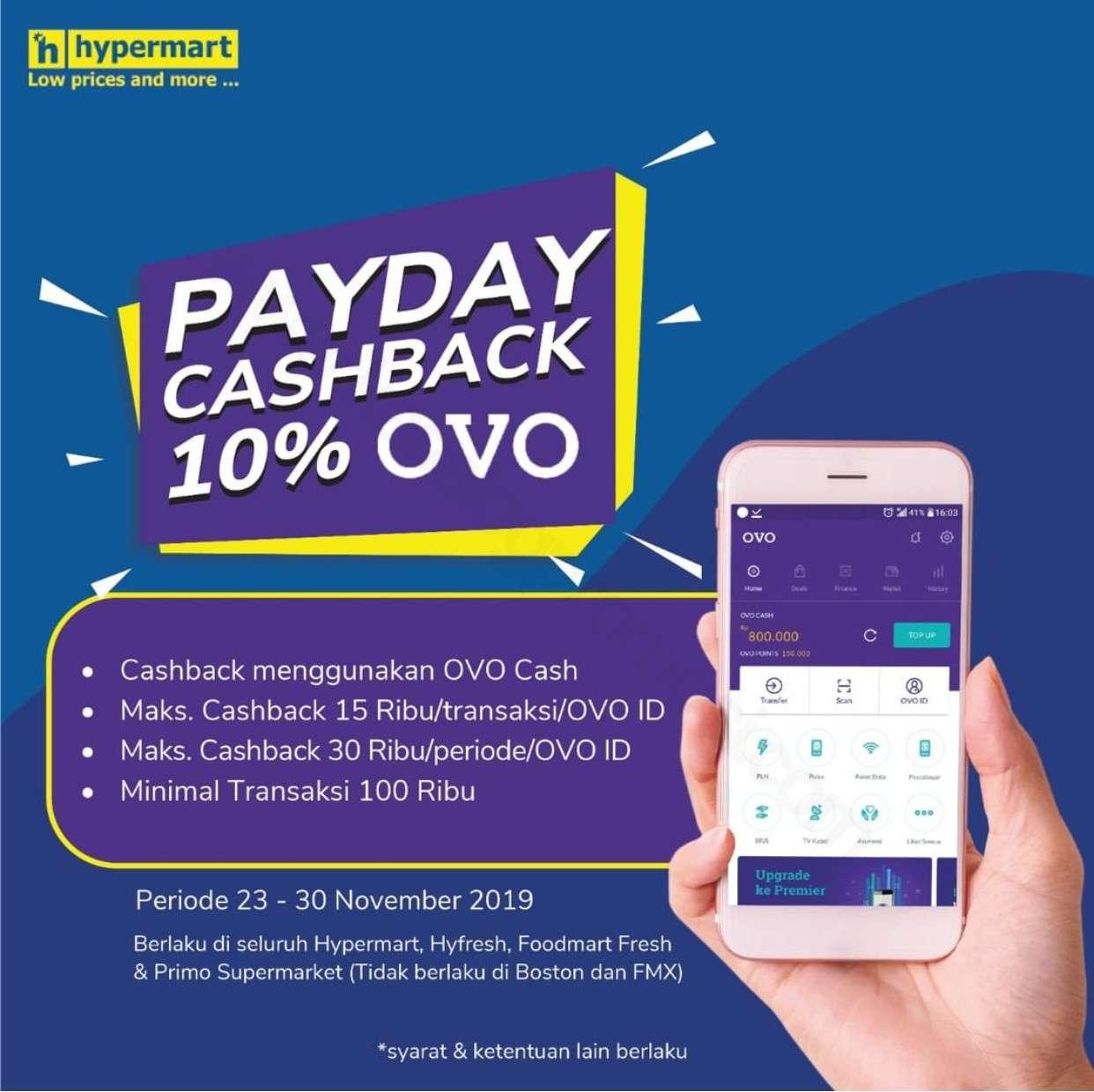 Hypermart Promo Payday Cashback 10% dari OVO