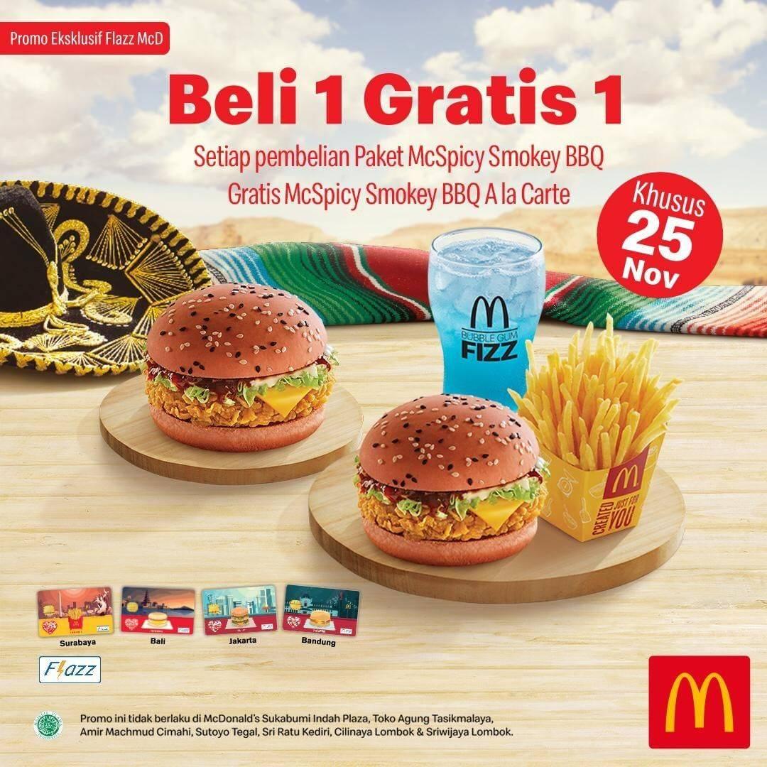 McDonalds Promo Beli 1 Gratis 1 dengan kartu Flazz McD