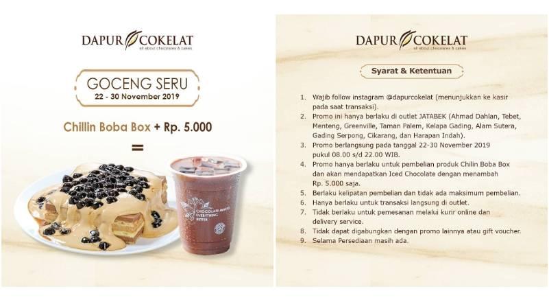 Dapur Cokelat Goceng Seru Beli Chillin Boba Box tambah Rp. 5.000 dapat Dapur Cokelat Signature Iced